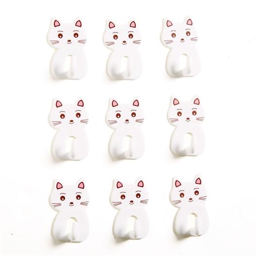 Set van 9 zelfklevende haakjes met kat