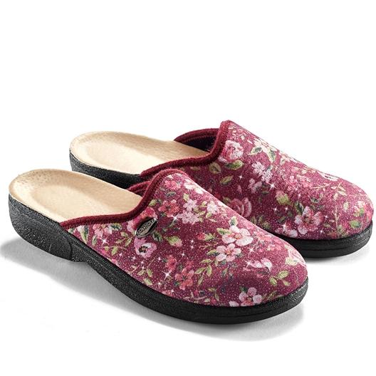 Stretch-Pantoffeln mit Blumen, rosa - Größe 37