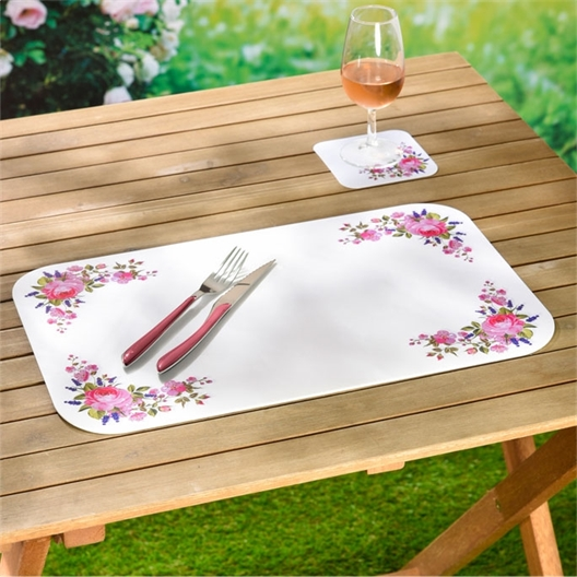 6 rose tablemats + coasters