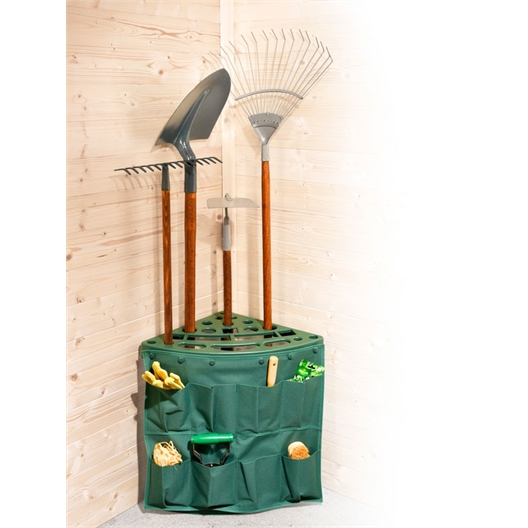 Organiseur d'angle outils jardin avec pochette