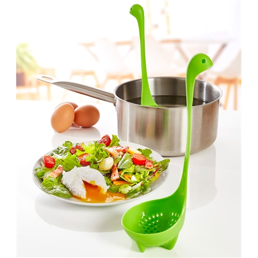 Set of 2 green poached egg ladles