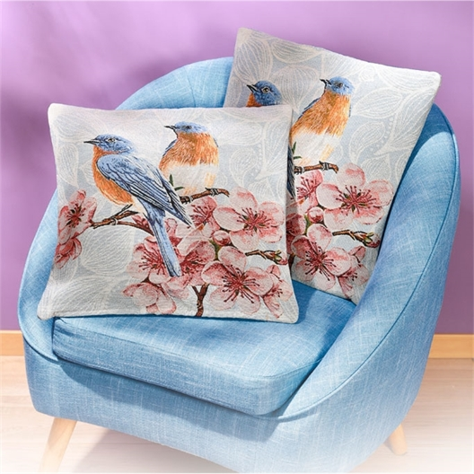 Set mit 2 Kissenbezügen Vogel, blau