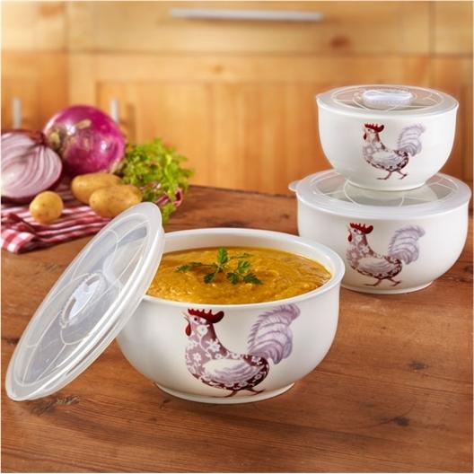 3 bowls met kipmotief