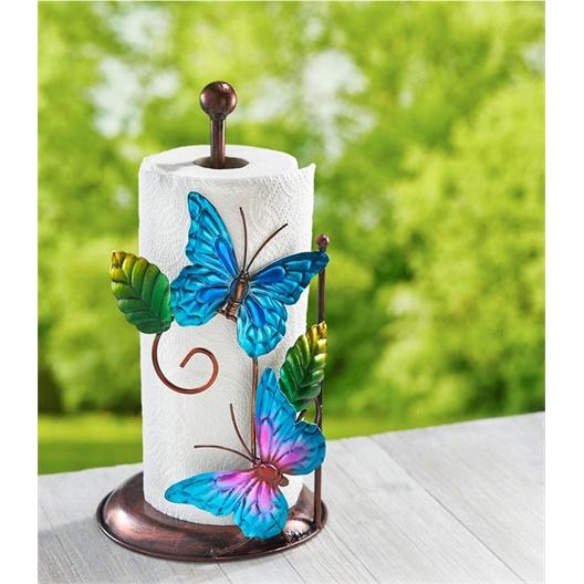 Blue butterfly kitchen roll holder