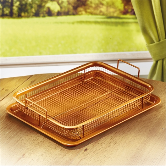 Copper coloured tray for convection oven
