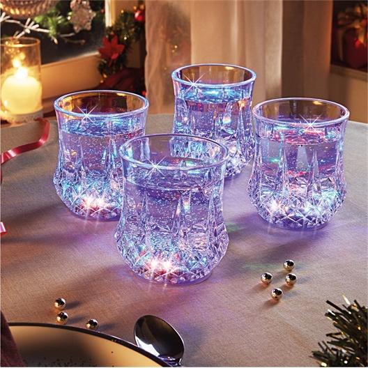 4 verres lumineux LED