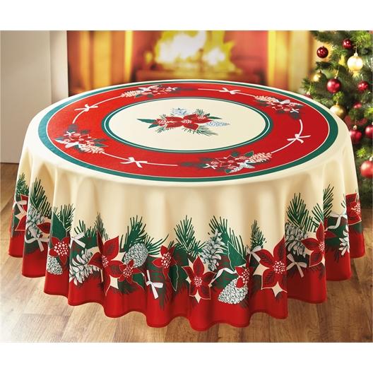 Tafelkleed met kerststerren en kerstbomen