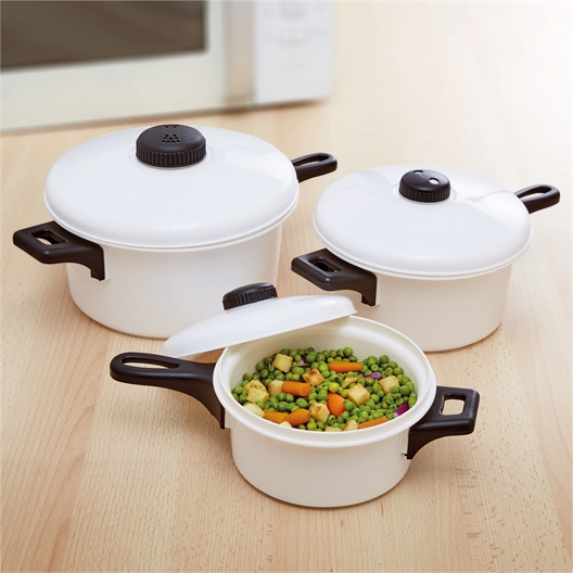 3 casseroles micro-ondes blanches