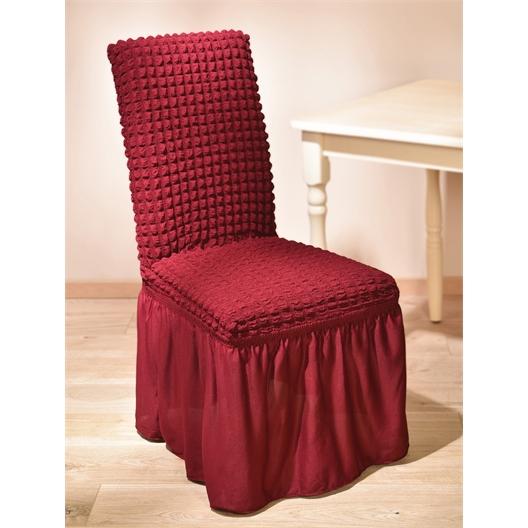 4 Stuhlhussen lang mit Rüschen Beige oder Bordeaux