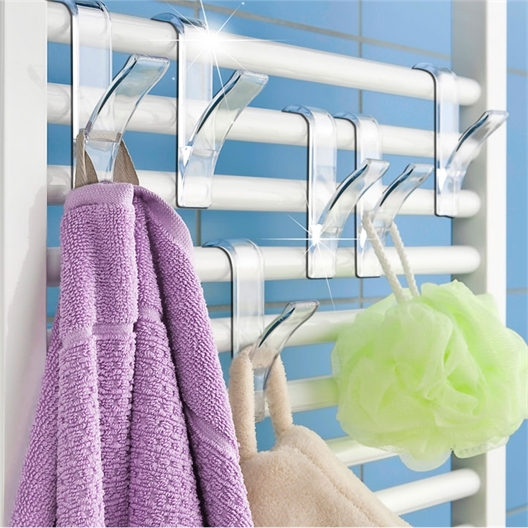 Set of 6 Transparent Towel Hooks