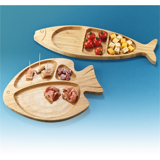 Long fish bamboo board, Round or set of 2