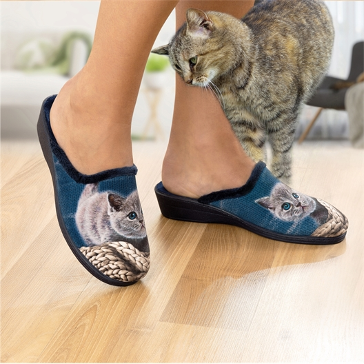Blaue Katze oder grauer Hund Pantoletten