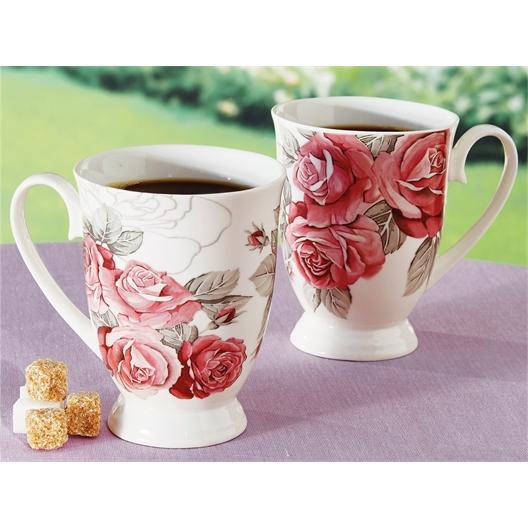 2 mugs motif roses