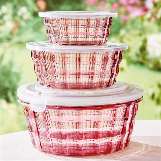 3 vintage pink containers