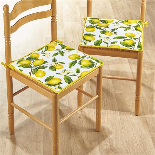 2 of 4 stoelkussens citroenen