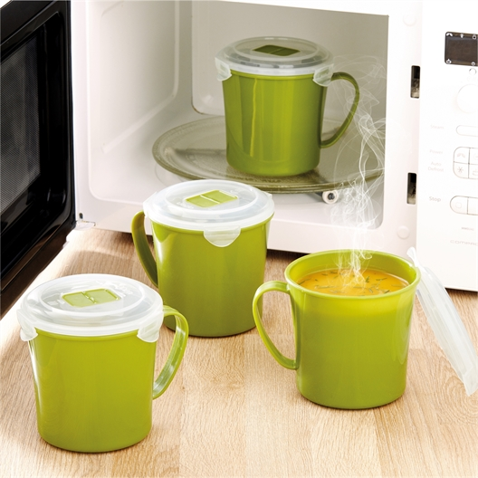 4 mugs à soupe micro-ondes vert