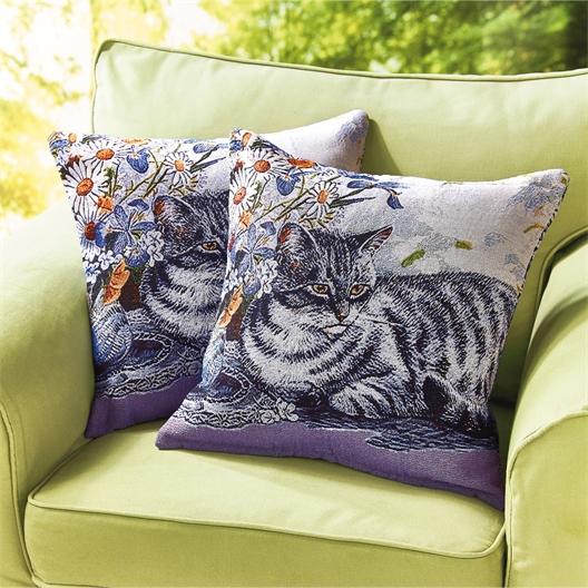 Set van 2 kussenovertrekken gestreepte kat
