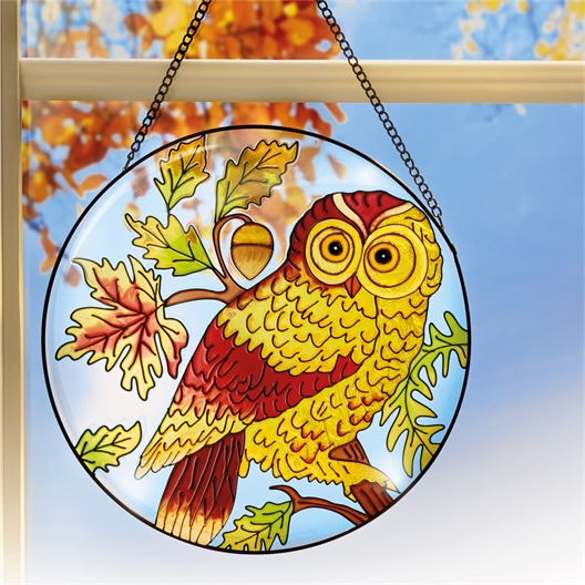 Owl stained glass ornament