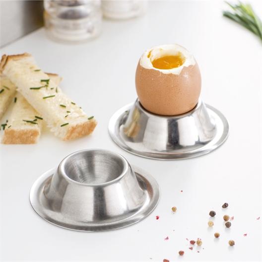 Set van twee of vier rvs eierdopjes
