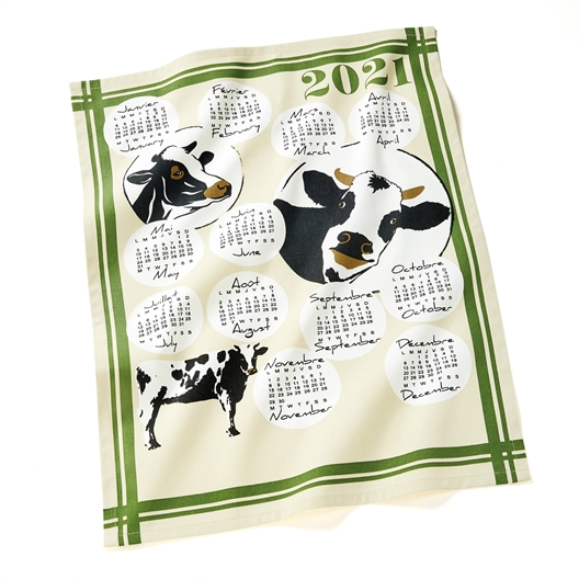 Torchon calendrier 2021 : chats, chiens, vaches ou lot de 3