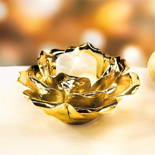 Goudkleurig roosvormig kandelaartje of set van 2