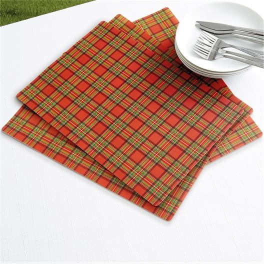 Set van 4 of 8 placemats met Schotse ruit
