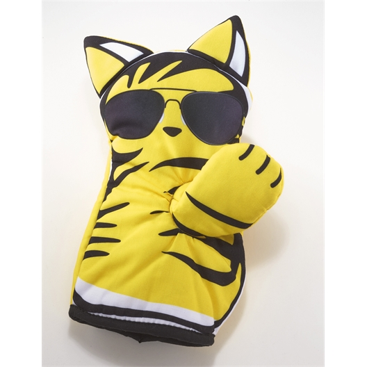 Yellow cat oven glove