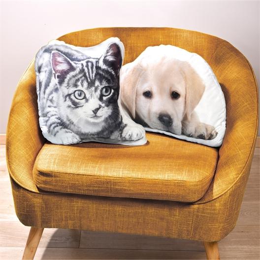 Coussin chat tigré ou labrador ou Lot de 2