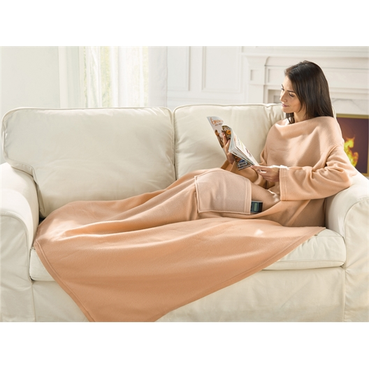 Beige throw with sleeves