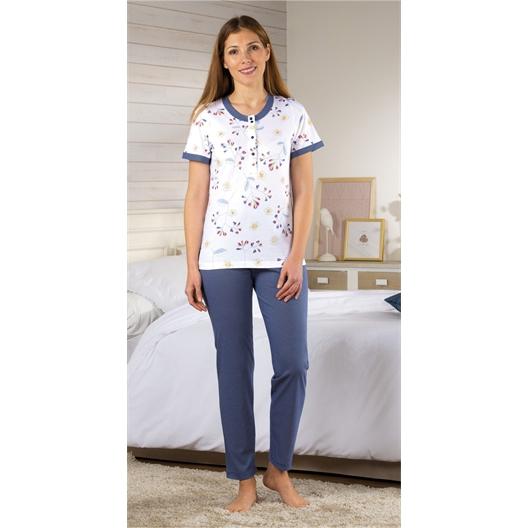 Pyjama bloemetjes en bolletjes - maat XL