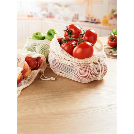 Set of 3 cotton fruit/vegetable nets