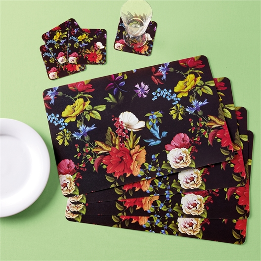 4 retro floral table mats + 4 coasters