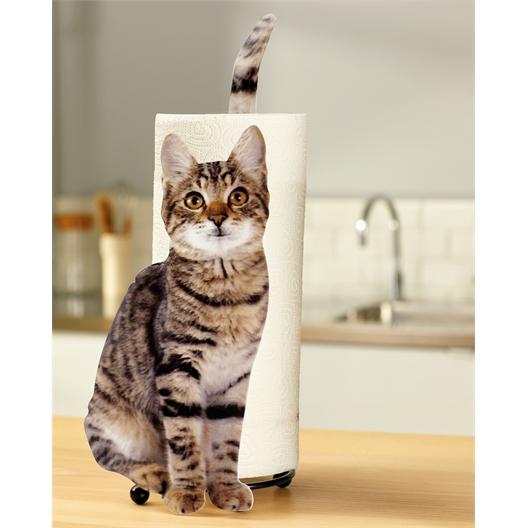 Tabby cat kitchen roll holder