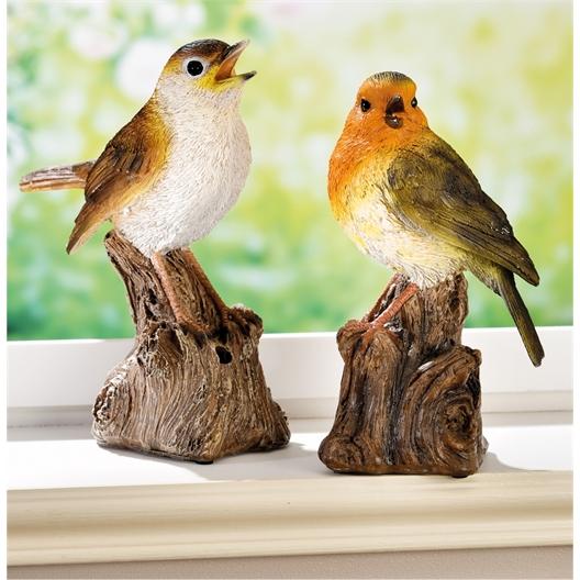 Pfeifender Vogel Rotkehlchen, Nachtigall oder 2er set