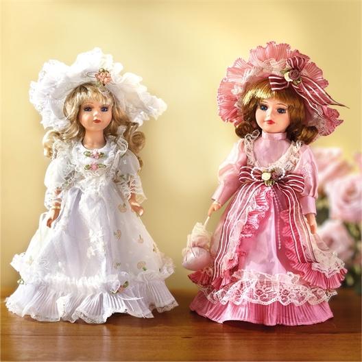 Poupée d'ornement romantique Rose, Blanche ou Lot de 2