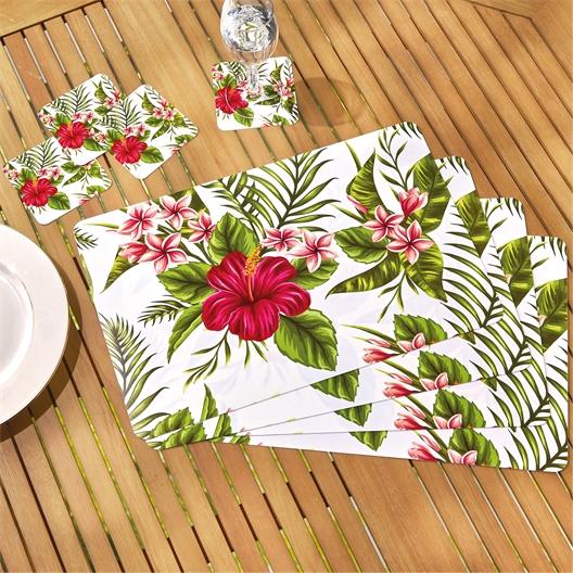 4 placemats + 4 onderzetters hibiscus