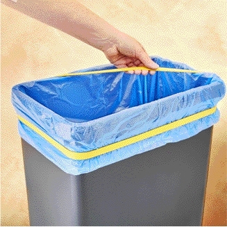 Drie elastieken om vuilniszak op zijn plaats te houden