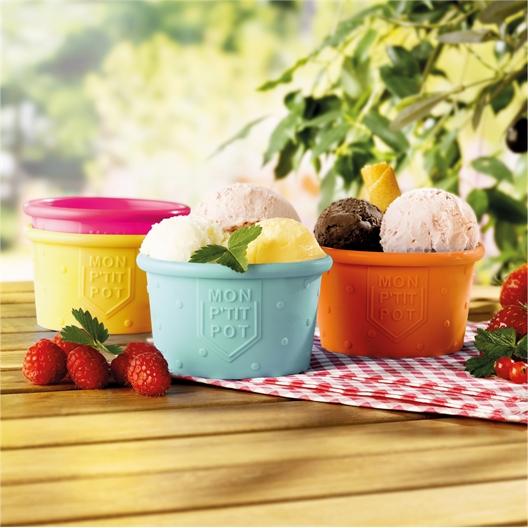 4 silicone ice cream pots