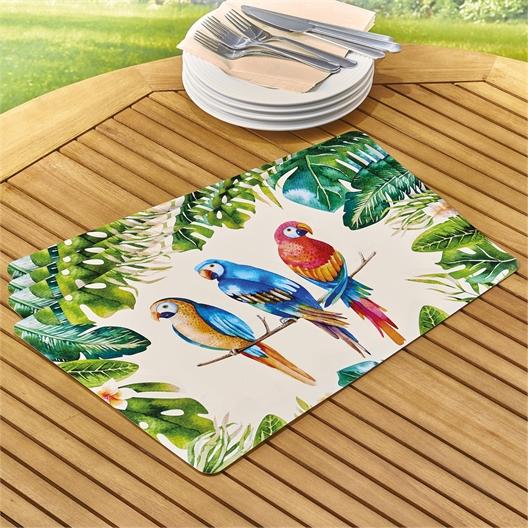4 sets de table perroquets