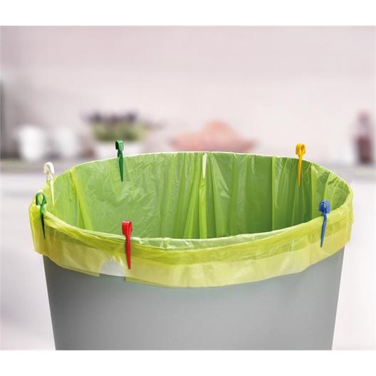 10 pinces sacs poubelle couleur