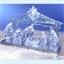Kerststal met blauw licht en muziek