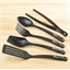 5 black polyamide utensils